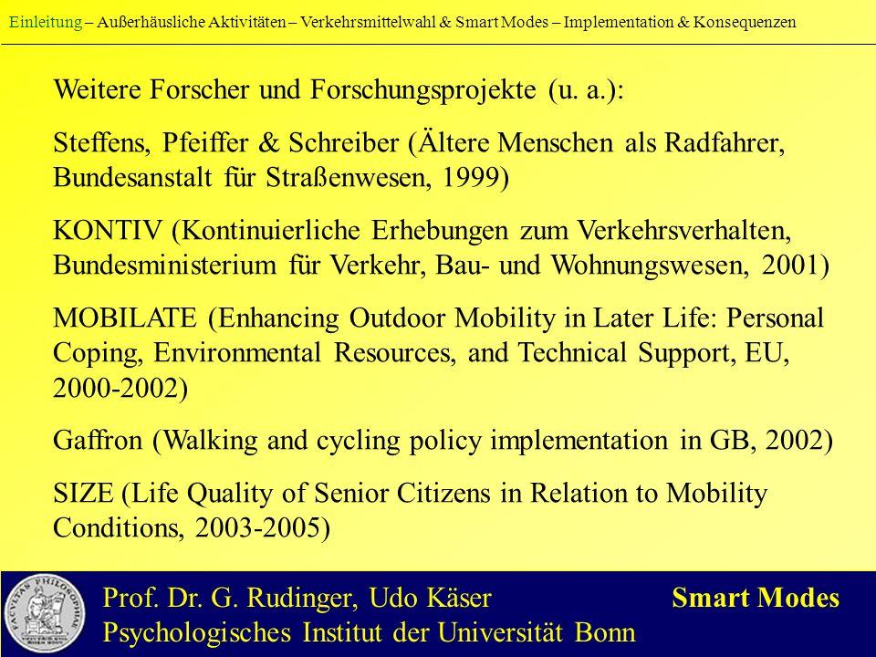 Vier typische Formen der Freizeitgestaltung im Alter als Kombination von Aktivitätsvielfalt und Aktivitätshäufigkeit: Einleitung – Außerhäusliche Aktivitäten – Verkehrsmittelwahl & Smart Modes – Implementation & Konsequenzen Prof.
