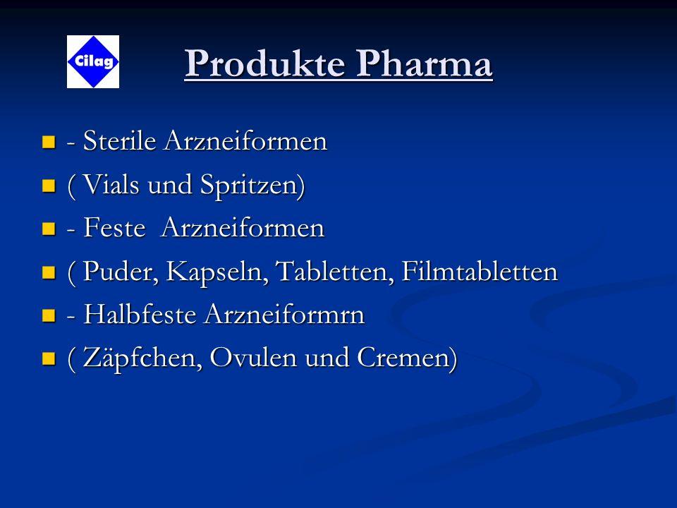 Produkte Pharma - Sterile Arzneiformen - Sterile Arzneiformen ( Vials und Spritzen) ( Vials und Spritzen) - Feste Arzneiformen - Feste Arzneiformen ( Puder, Kapseln, Tabletten, Filmtabletten ( Puder, Kapseln, Tabletten, Filmtabletten - Halbfeste Arzneiformrn - Halbfeste Arzneiformrn ( Zäpfchen, Ovulen und Cremen) ( Zäpfchen, Ovulen und Cremen)