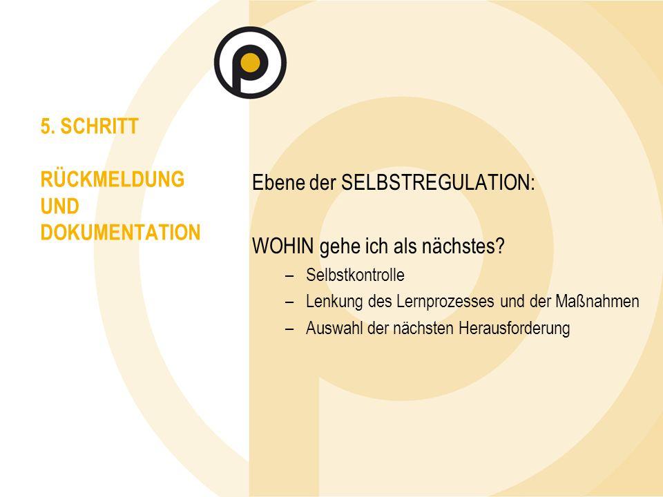 5. SCHRITT RÜCKMELDUNG UND DOKUMENTATION Ebene der SELBSTREGULATION: WOHIN gehe ich als nächstes.