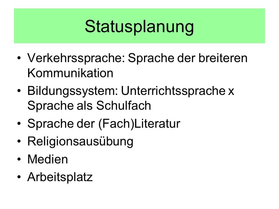 Statusplanung Verkehrssprache: Sprache der breiteren Kommunikation Bildungssystem: Unterrichtssprache x Sprache als Schulfach Sprache der (Fach)Literatur Religionsausübung Medien Arbeitsplatz