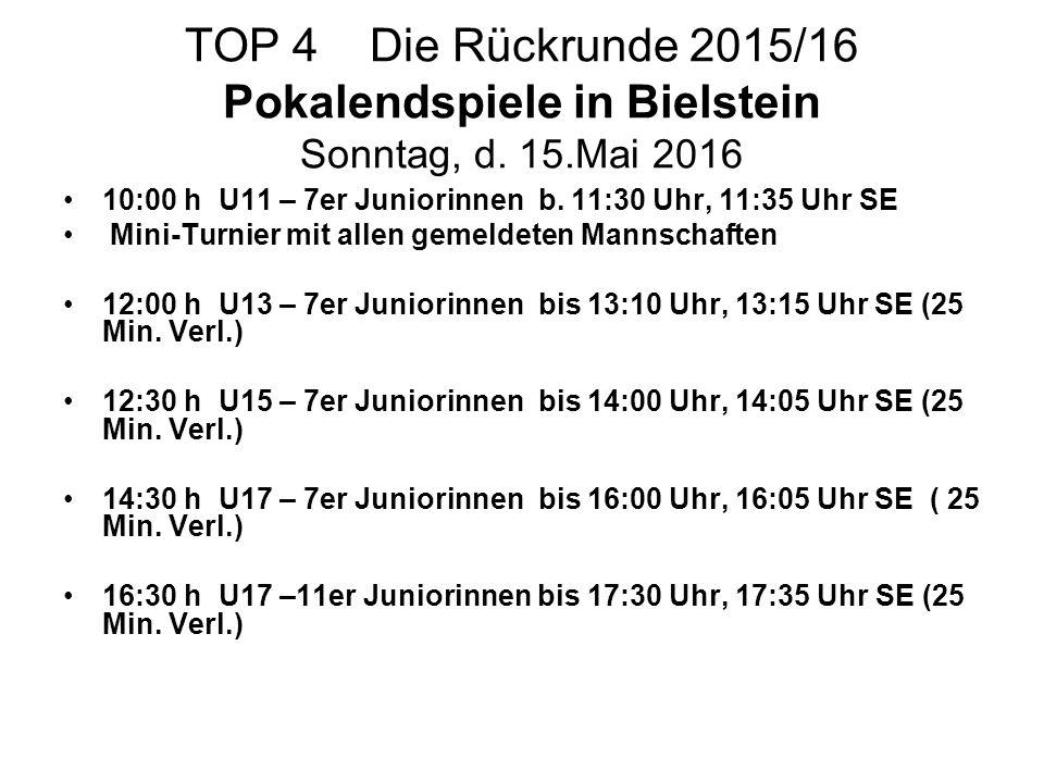 TOP 4 Die Rückrunde 2015/16 Pokalendspiele in Bielstein Sonntag, d. 15.Mai 2016 10:00 h U11 – 7er Juniorinnen b. 11:30 Uhr, 11:35 Uhr SE Mini-Turnier