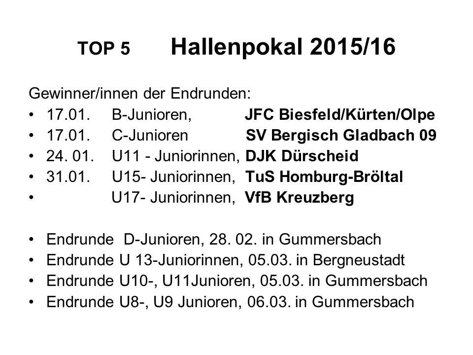 TOP 5 Hallenpokal 2015/16 Gewinner/innen der Endrunden: 17.01. B-Junioren, JFC Biesfeld/Kürten/Olpe 17.01. C-Junioren SV Bergisch Gladbach 09 24. 01.