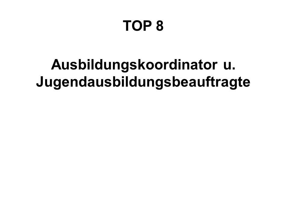 TOP 8 Ausbildungskoordinator u. Jugendausbildungsbeauftragte