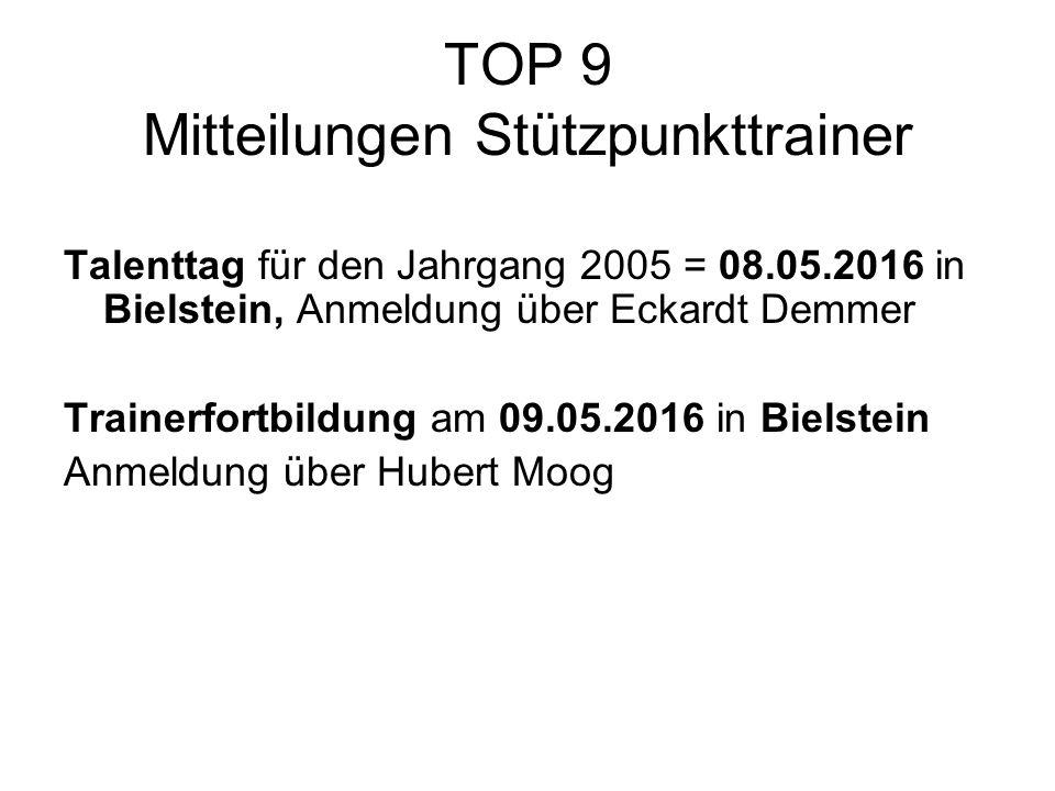 TOP 9 Mitteilungen Stützpunkttrainer Talenttag für den Jahrgang 2005 = 08.05.2016 in Bielstein, Anmeldung über Eckardt Demmer Trainerfortbildung am 09.05.2016 in Bielstein Anmeldung über Hubert Moog