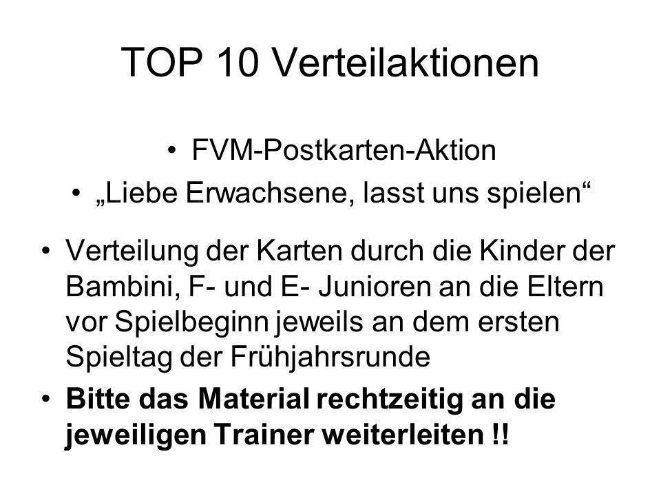 """TOP 10 Verteilaktionen FVM-Postkarten-Aktion """"Liebe Erwachsene, lasst uns spielen"""" Verteilung der Karten durch die Kinder der Bambini, F- und E- Junio"""