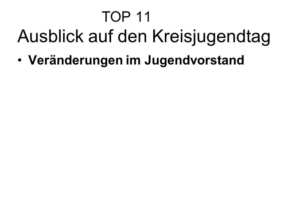 TOP 11 Ausblick auf den Kreisjugendtag Veränderungen im Jugendvorstand