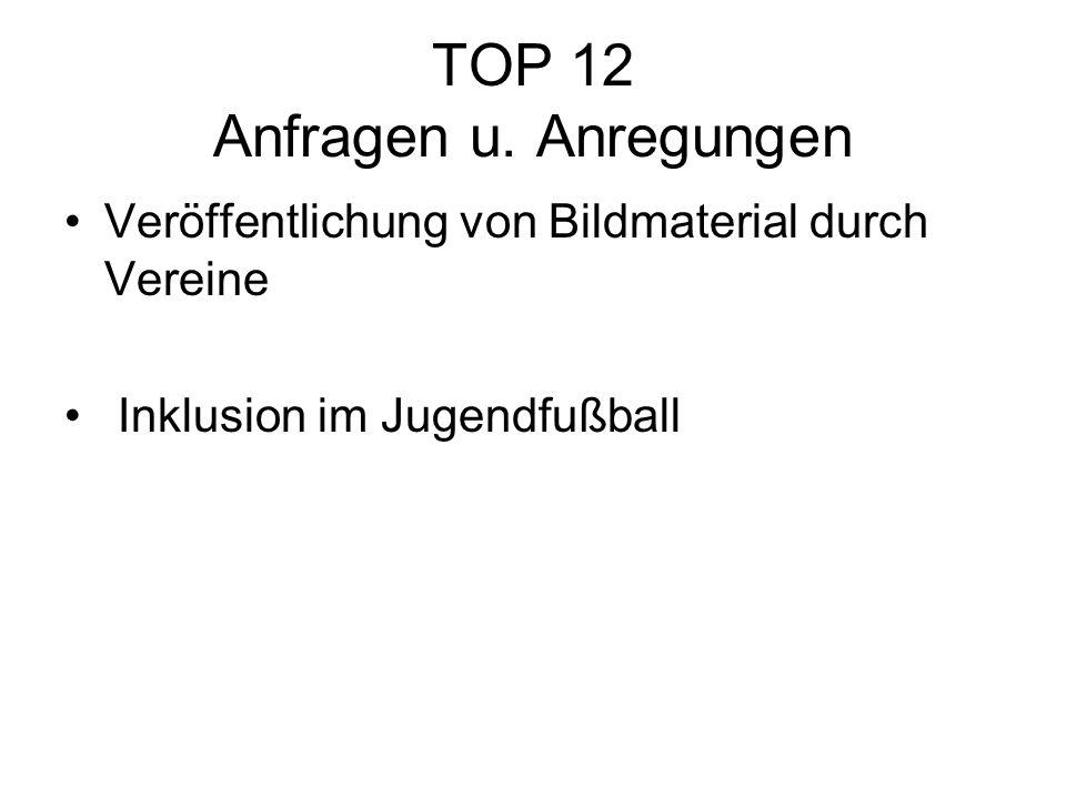 TOP 12 Anfragen u. Anregungen Veröffentlichung von Bildmaterial durch Vereine Inklusion im Jugendfußball