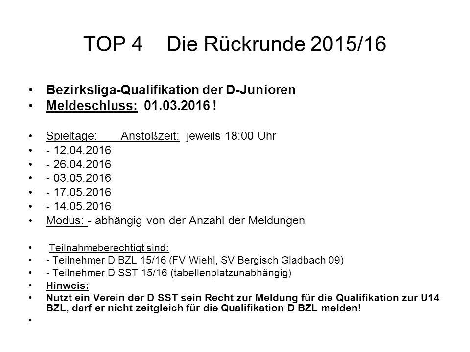 TOP 4 Die Rückrunde 2015/16 Bezirksliga-Qualifikation der D-Junioren Meldeschluss: 01.03.2016 ! Spieltage: Anstoßzeit: jeweils 18:00 Uhr - 12.04.2016