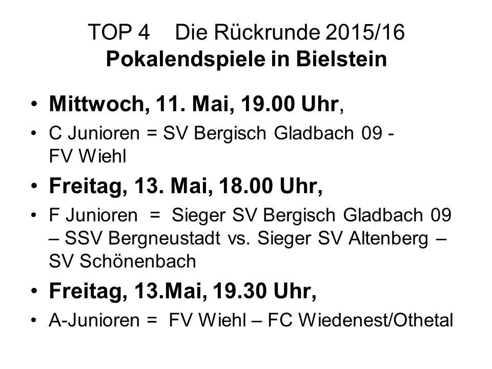TOP 4 Die Rückrunde 2015/16 Pokalendspiele in Bielstein Mittwoch, 11. Mai, 19.00 Uhr, C Junioren = SV Bergisch Gladbach 09 - FV Wiehl Freitag, 13. Mai
