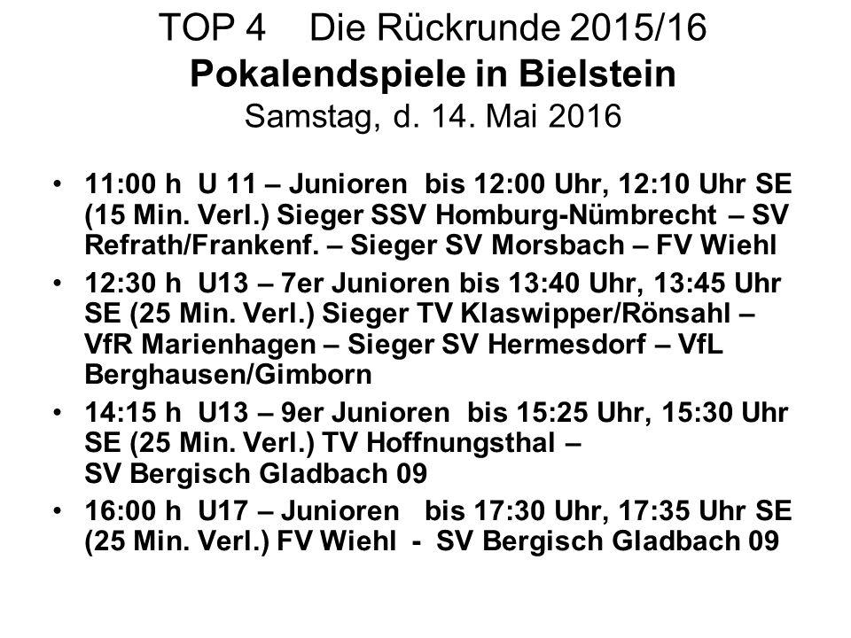 TOP 4 Die Rückrunde 2015/16 Pokalendspiele in Bielstein Samstag, d. 14. Mai 2016 11:00 h U 11 – Junioren bis 12:00 Uhr, 12:10 Uhr SE (15 Min. Verl.) S
