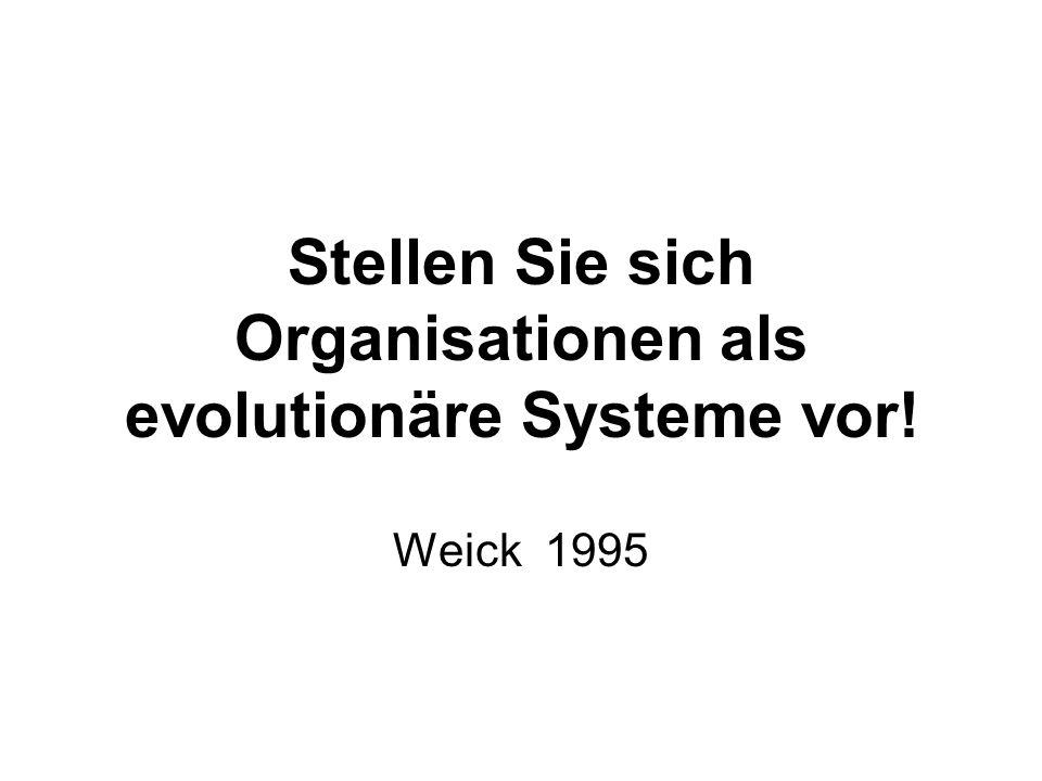Stellen Sie sich Organisationen als evolutionäre Systeme vor! Weick 1995