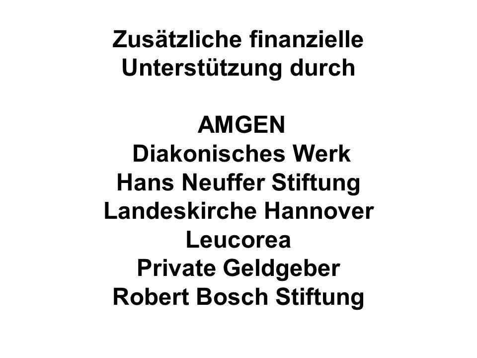 Zusätzliche finanzielle Unterstützung durch AMGEN Diakonisches Werk Hans Neuffer Stiftung Landeskirche Hannover Leucorea Private Geldgeber Robert Bosch Stiftung