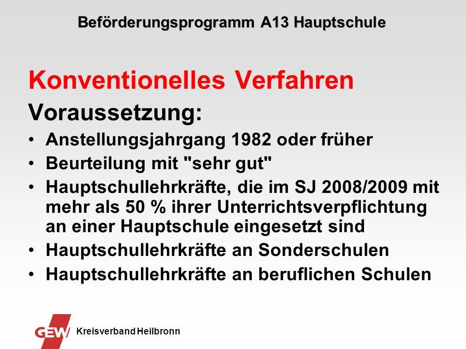 Beförderungsprogramm A13 Hauptschule Konventionelles Verfahren Voraussetzung: Anstellungsjahrgang 1982 oder früher Beurteilung mit