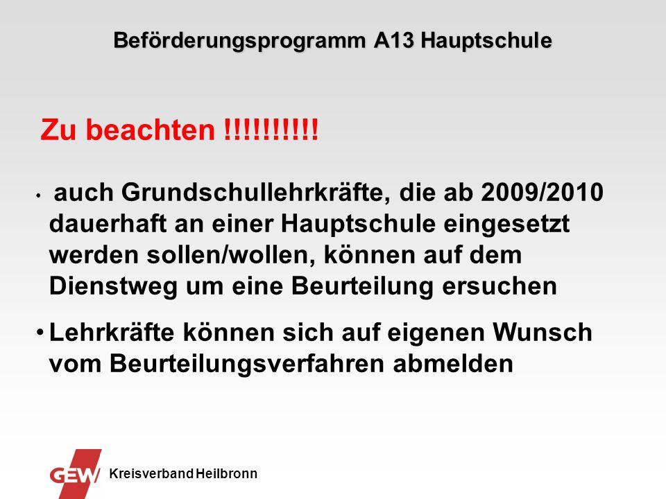 Beförderungsprogramm A13 Hauptschule Kreisverband Heilbronn Ausschreibungsverfahren Bewerbungsverfahren 2 Besetzungsvorschlag auf dem Dienstweg an das Regierungspräsidium.