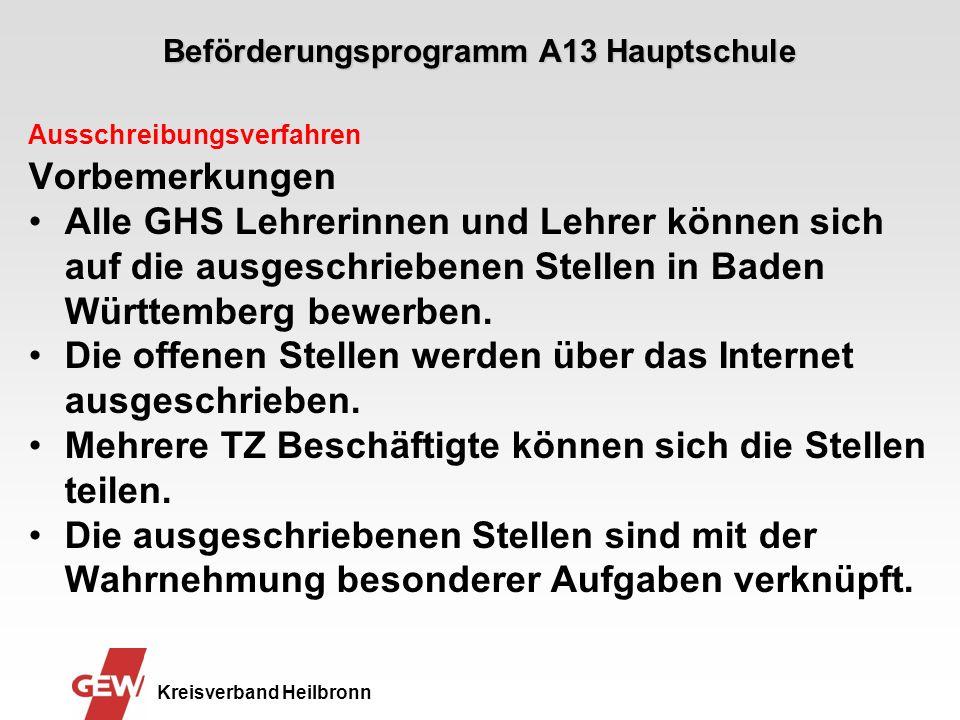 Beförderungsprogramm A13 Hauptschule Kreisverband Heilbronn Ausschreibungsverfahren Vorbemerkungen Alle GHS Lehrerinnen und Lehrer können sich auf die