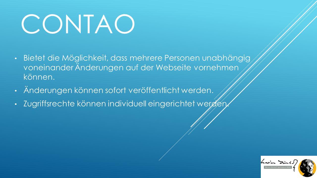 CONTAO Bietet die Möglichkeit, dass mehrere Personen unabhängig voneinander Änderungen auf der Webseite vornehmen können.