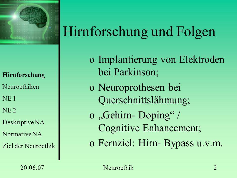 "20.06.07Neuroethik2 Hirnforschung und Folgen oImplantierung von Elektroden bei Parkinson; oNeuroprothesen bei Querschnittslähmung; o""Gehirn- Doping"" /"
