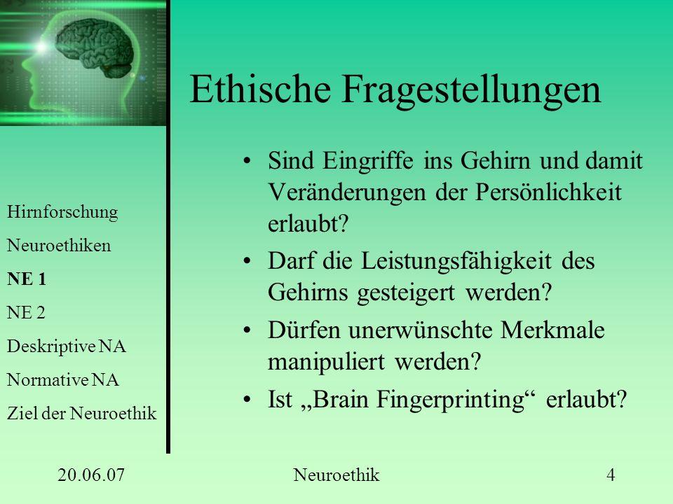20.06.07Neuroethik4 Ethische Fragestellungen Sind Eingriffe ins Gehirn und damit Veränderungen der Persönlichkeit erlaubt? Darf die Leistungsfähigkeit