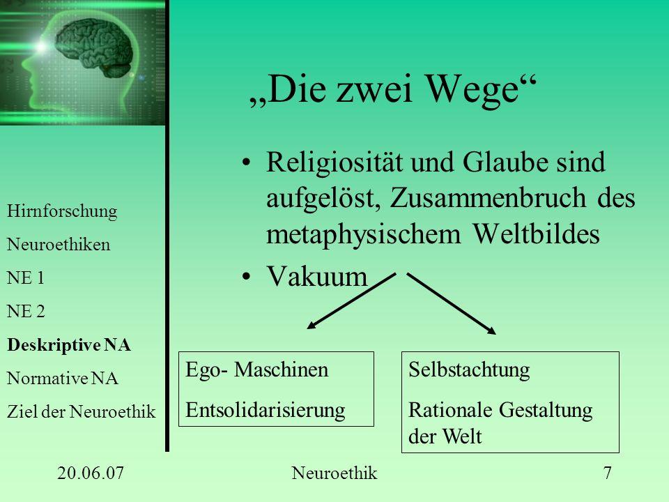 """20.06.07Neuroethik7 """"Die zwei Wege"""" Religiosität und Glaube sind aufgelöst, Zusammenbruch des metaphysischem Weltbildes Vakuum Ego- Maschinen Entsolid"""