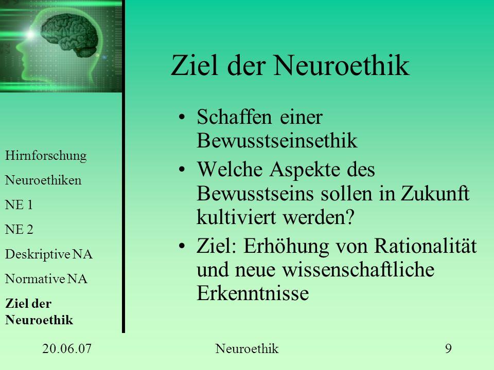 20.06.07Neuroethik9 Ziel der Neuroethik Schaffen einer Bewusstseinsethik Welche Aspekte des Bewusstseins sollen in Zukunft kultiviert werden? Ziel: Er