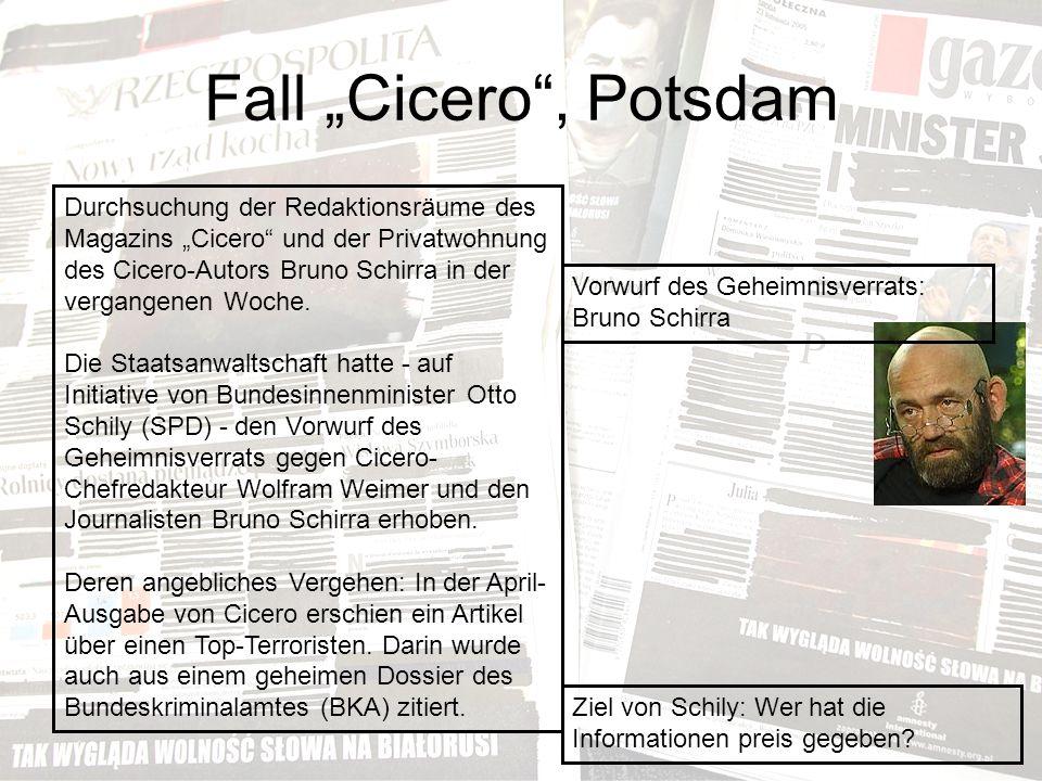 """Fall """"Cicero , Potsdam Durchsuchung der Redaktionsräume des Magazins """"Cicero und der Privatwohnung des Cicero-Autors Bruno Schirra in der vergangenen Woche."""