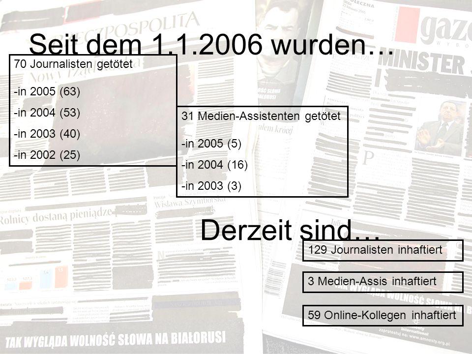 Seit dem 1.1.2006 wurden… 70 Journalisten getötet -in 2005 (63) -in 2004 (53) -in 2003 (40) -in 2002 (25) 31 Medien-Assistenten getötet -in 2005 (5) -in 2004 (16) -in 2003 (3) 129 Journalisten inhaftiert Derzeit sind… 3 Medien-Assis inhaftiert 59 Online-Kollegen inhaftiert
