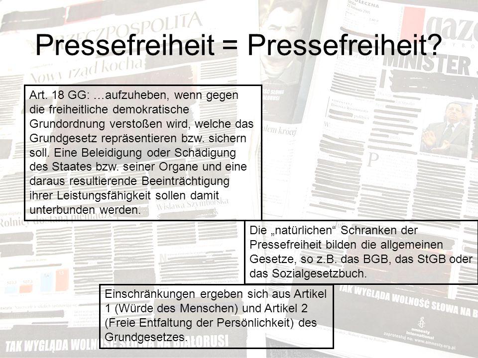 Pressefreiheit = Pressefreiheit. Art.