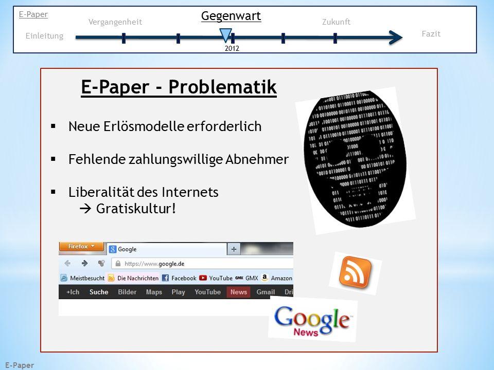 E-Paper E-Paper - Problematik  Neue Erlösmodelle erforderlich  Fehlende zahlungswillige Abnehmer  Liberalität des Internets  Gratiskultur.
