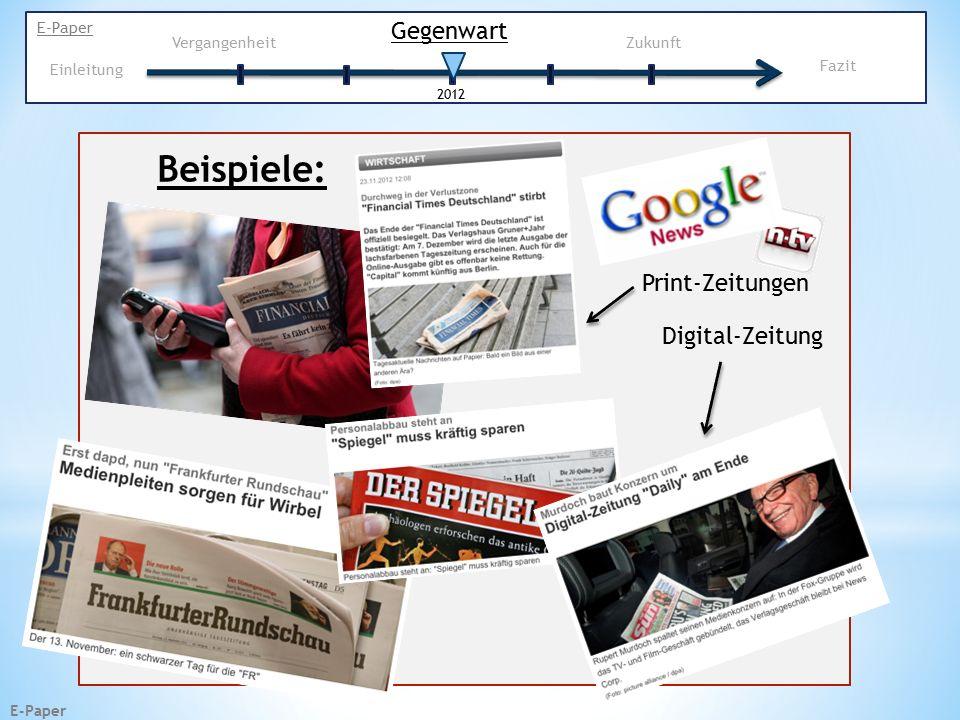 E-Paper Beispiele: Print-Zeitungen Digital-Zeitung Gegenwart E-Paper Vergangenheit Zukunft 2012 Einleitung Fazit