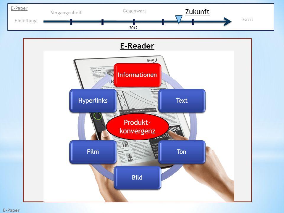 E-Paper InformationenTextTonBildFilmHyperlinks E-Reader Zukunft E-Paper Vergangenheit Gegenwart 2012 Einleitung Fazit Produkt- konvergenz