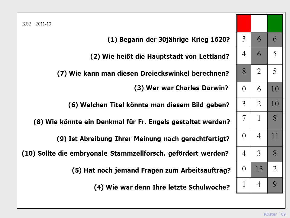 Köster `09 Studienseminar Köln (1) Begann der 30jährige Krieg 1620.