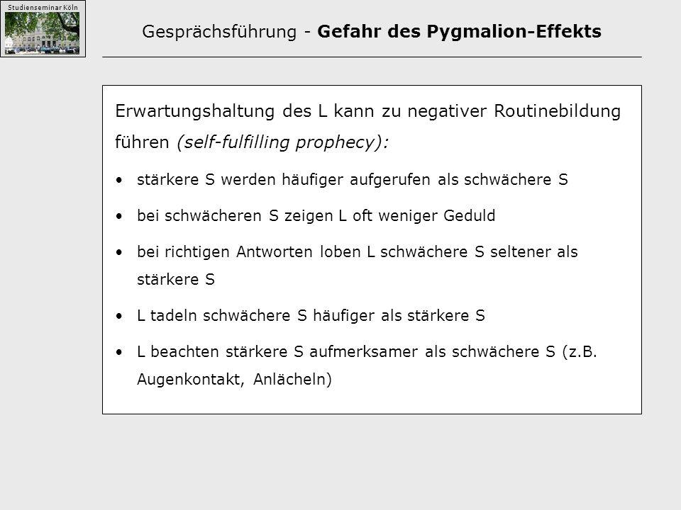 Studienseminar Köln Gesprächsführung - Gefahr des Pygmalion-Effekts Erwartungshaltung des L kann zu negativer Routinebildung führen (self-fulfilling prophecy): stärkere S werden häufiger aufgerufen als schwächere S bei schwächeren S zeigen L oft weniger Geduld bei richtigen Antworten loben L schwächere S seltener als stärkere S L tadeln schwächere S häufiger als stärkere S L beachten stärkere S aufmerksamer als schwächere S (z.B.