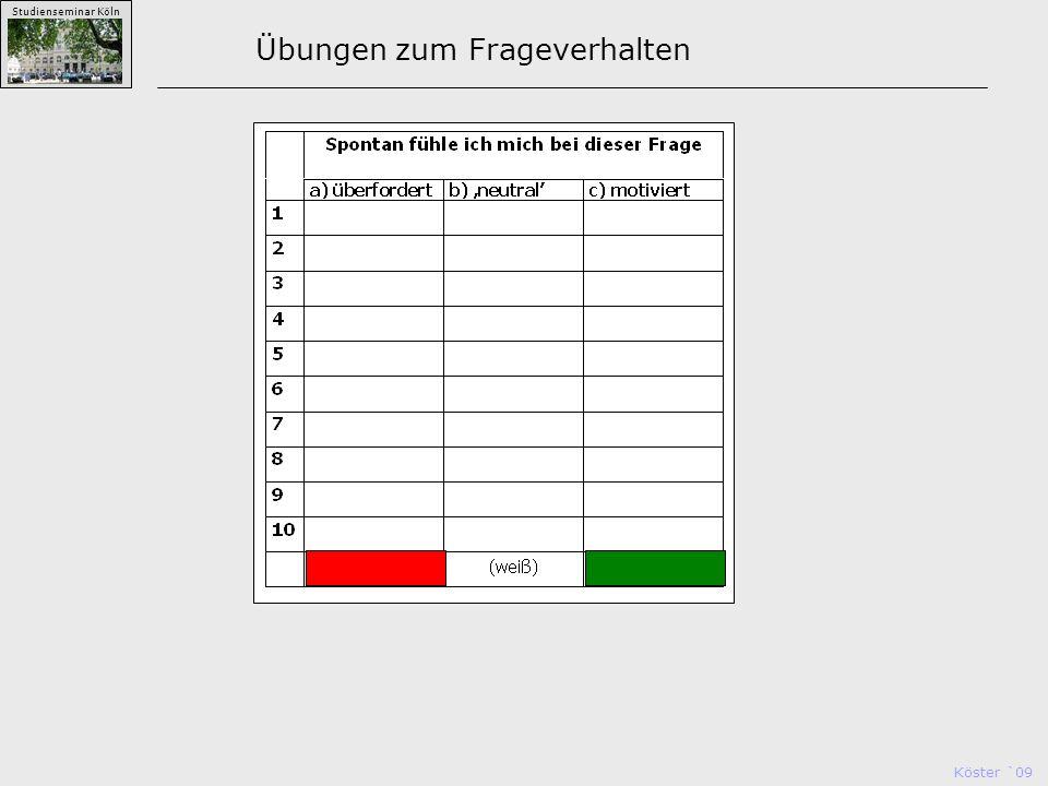 Köster `09 Studienseminar Köln Übungen zum Frageverhalten