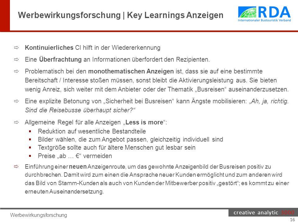 creative analytic 3000 Werbewirkungsforschung Werbewirkungsforschung | Key Learnings Anzeigen  Kontinuierliches CI hilft in der Wiedererkennung  Eine Überfrachtung an Informationen überfordert den Rezipienten.