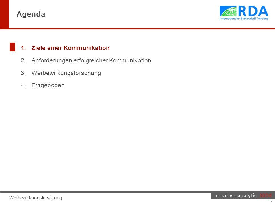creative analytic 3000 Agenda 1.Ziele einer Kommunikation 2.Anforderungen erfolgreicher Kommunikation 3.Werbewirkungsforschung 4.Fragebogen Werbewirkungsforschung 2