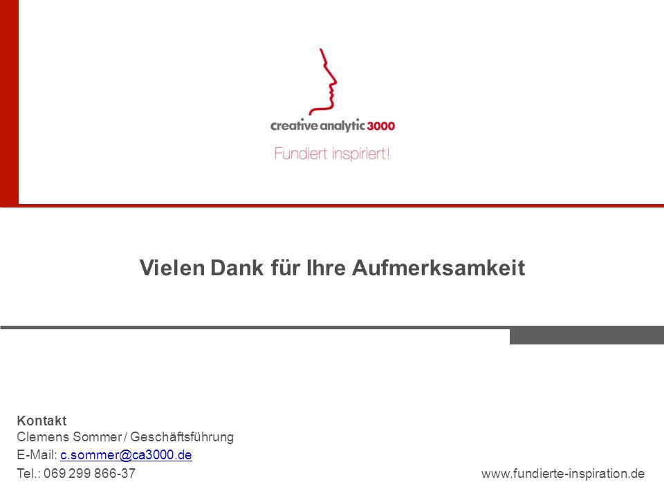 Vielen Dank für Ihre Aufmerksamkeit Kontakt Clemens Sommer / Geschäftsführung E-Mail: c.sommer@ca3000.dec.sommer@ca3000.de Tel.: 069 299 866-37www.fundierte-inspiration.de