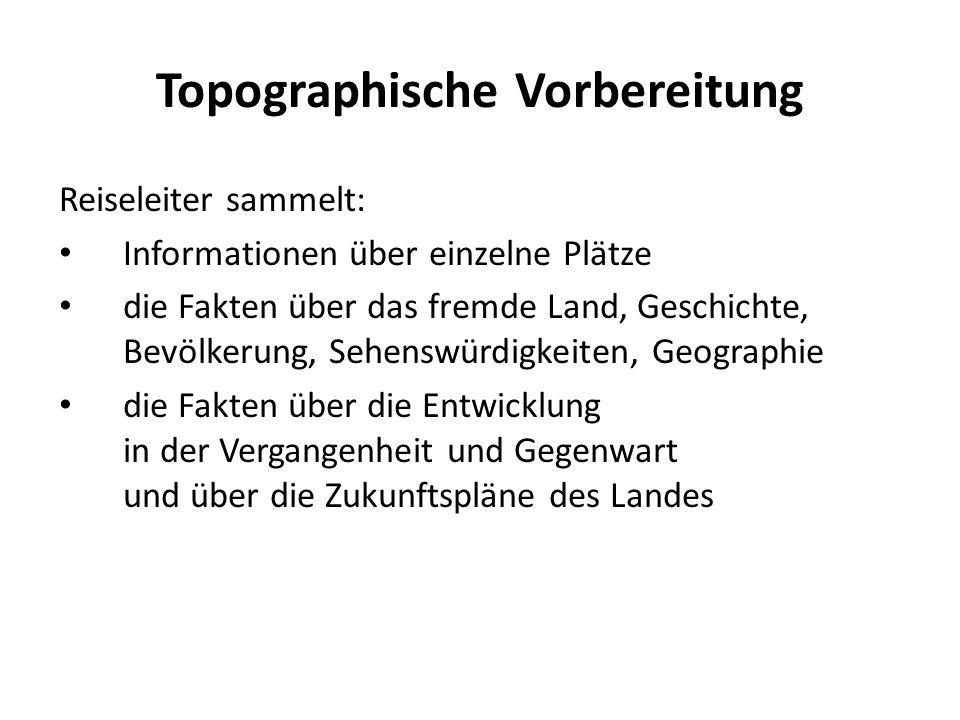 Topographische Vorbereitung Reiseleiter sammelt: Informationen über einzelne Plätze die Fakten über das fremde Land, Geschichte, Bevölkerung, Sehenswü