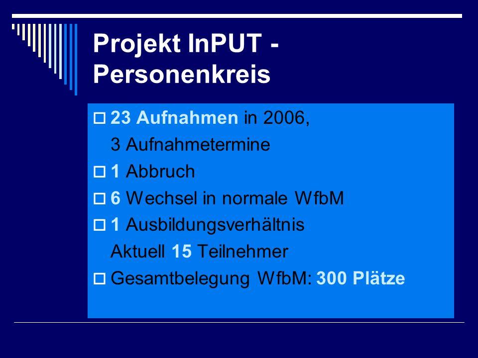 Projekt InPUT - Personenkreis  23 Aufnahmen in 2006, 3 Aufnahmetermine  1 Abbruch  6 Wechsel in normale WfbM  1 Ausbildungsverhältnis Aktuell 15 Teilnehmer  Gesamtbelegung WfbM: 300 Plätze