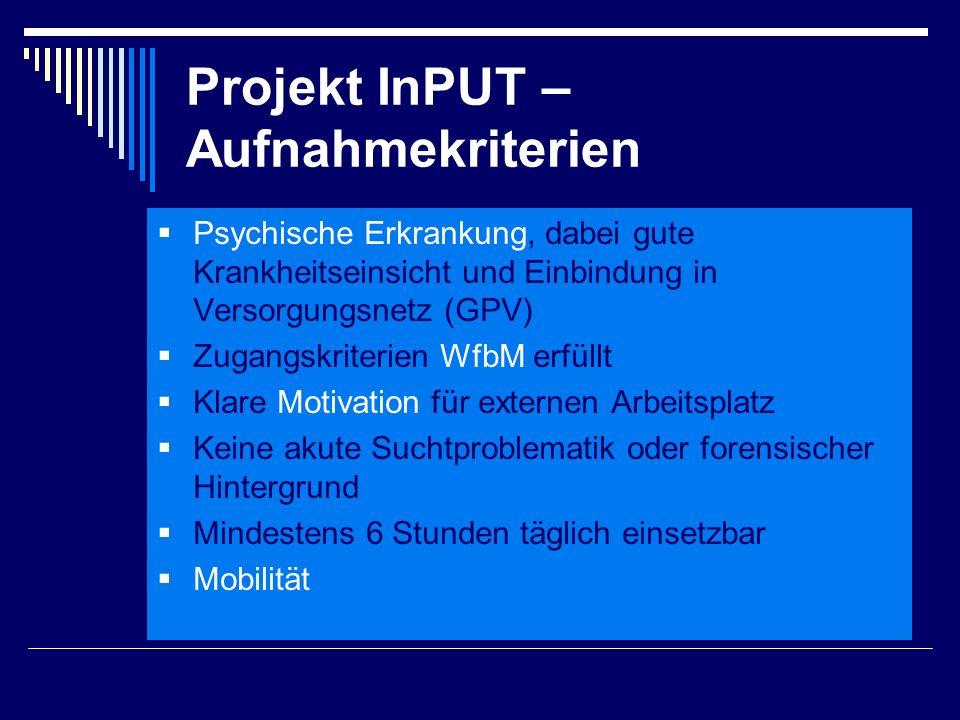 Projekt InPUT – Aufnahmekriterien  Psychische Erkrankung, dabei gute Krankheitseinsicht und Einbindung in Versorgungsnetz (GPV)  Zugangskriterien Wf
