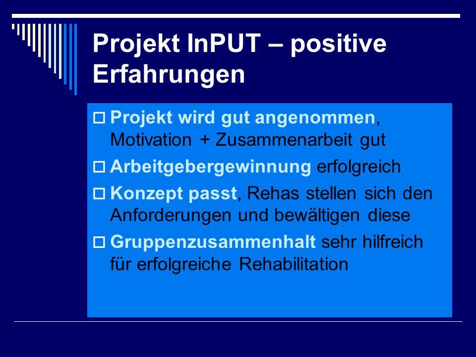Projekt InPUT – positive Erfahrungen  Projekt wird gut angenommen, Motivation + Zusammenarbeit gut  Arbeitgebergewinnung erfolgreich  Konzept passt, Rehas stellen sich den Anforderungen und bewältigen diese  Gruppenzusammenhalt sehr hilfreich für erfolgreiche Rehabilitation