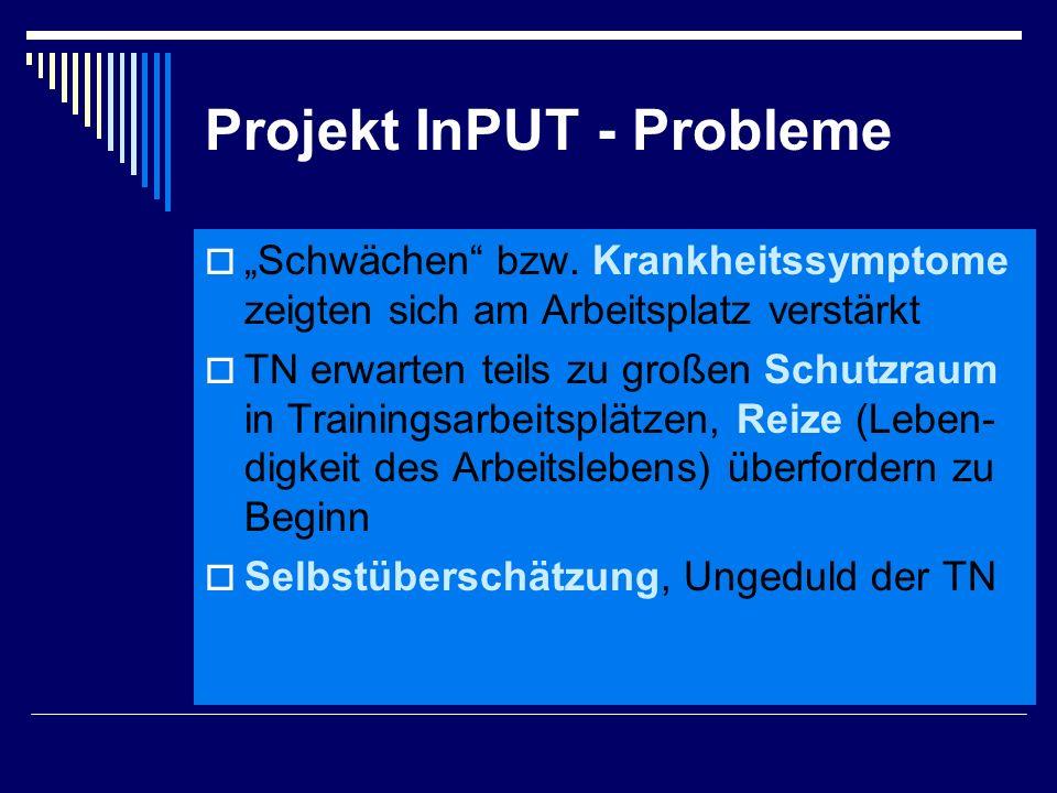 """Projekt InPUT - Probleme  """"Schwächen"""" bzw. Krankheitssymptome zeigten sich am Arbeitsplatz verstärkt  TN erwarten teils zu großen Schutzraum in Trai"""