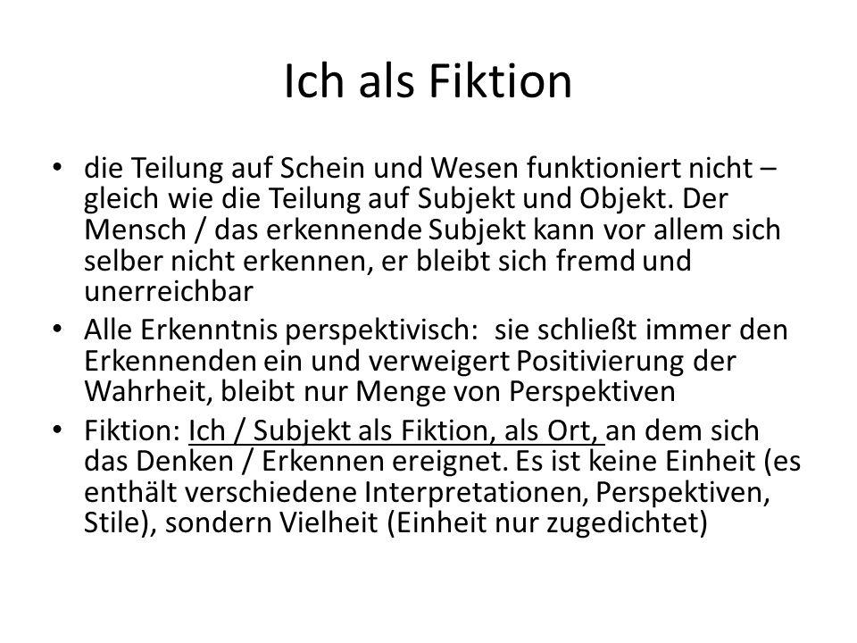 Ich als Fiktion die Teilung auf Schein und Wesen funktioniert nicht – gleich wie die Teilung auf Subjekt und Objekt.