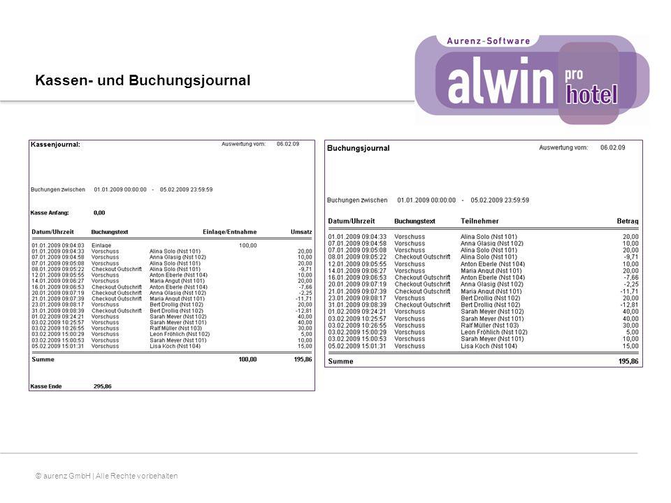 © aurenz GmbH | Alle Rechte vorbehalten Kassen- und Buchungsjournal