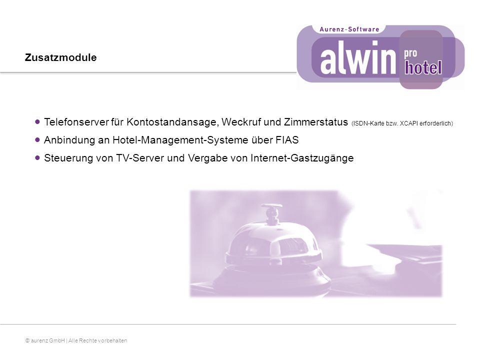© aurenz GmbH | Alle Rechte vorbehalten Zusatzmodule  Telefonserver für Kontostandansage, Weckruf und Zimmerstatus (ISDN-Karte bzw.