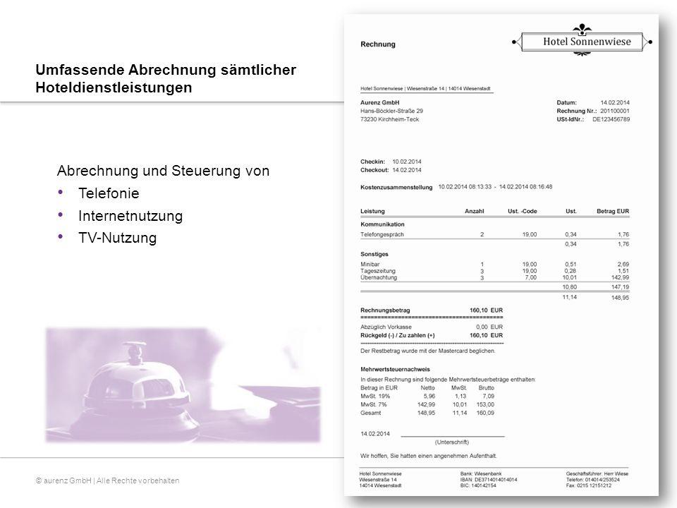 © aurenz GmbH | Alle Rechte vorbehalten Export-Einstellungen  Rechnungsdaten können an weiterverarbeitende Systeme in Form eines Exports übergeben werden  Alternativ kann bei den Aktionen Vorschuss einzahlen/auszahlen, Check-In, Check-Out und Zwischenabrechnung ein weiter- führender Verarbeitungsprozess über das Einbinden einer Komponente (dll) angestoßen werden.