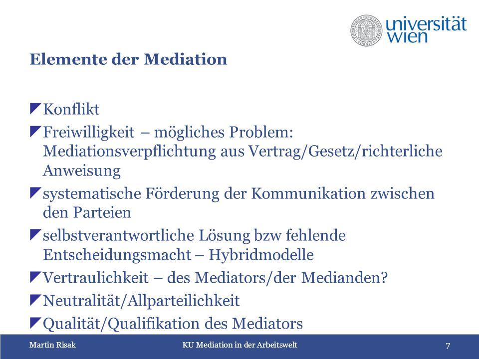 Martin RisakKU Mediation in der Arbeitswelt8 Warum Modelle.