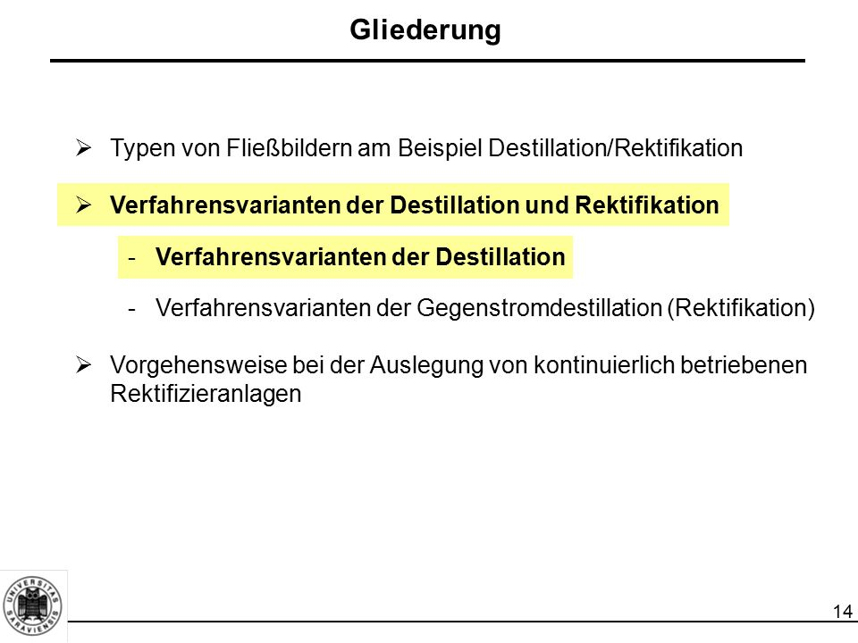 14  Typen von Fließbildern am Beispiel Destillation/Rektifikation  Verfahrensvarianten der Destillation und Rektifikation -Verfahrensvarianten der D