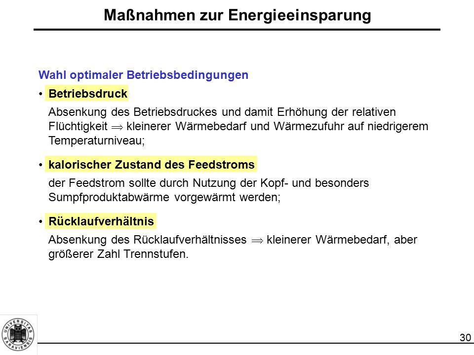 30 Maßnahmen zur Energieeinsparung Wahl optimaler Betriebsbedingungen Betriebsdruck Absenkung des Betriebsdruckes und damit Erhöhung der relativen Flü