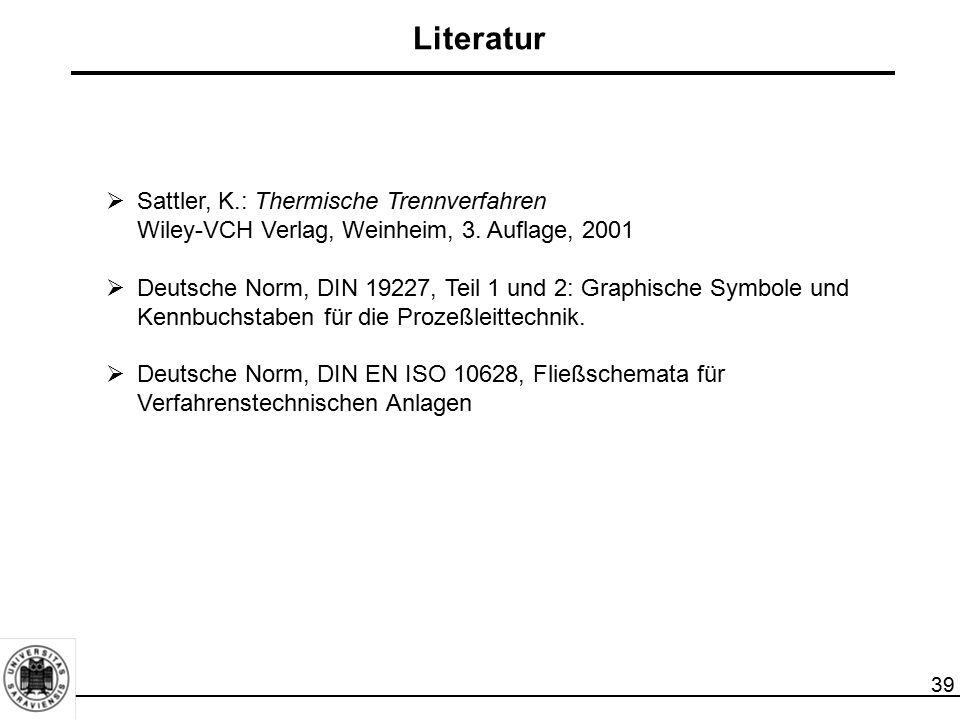 39 Literatur  Sattler, K.: Thermische Trennverfahren Wiley-VCH Verlag, Weinheim, 3. Auflage, 2001  Deutsche Norm, DIN 19227, Teil 1 und 2: Graphisch