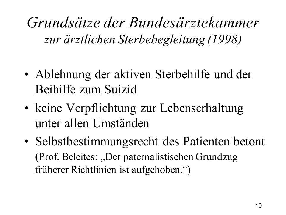10 Grundsätze der Bundesärztekammer zur ärztlichen Sterbebegleitung (1998) Ablehnung der aktiven Sterbehilfe und der Beihilfe zum Suizid keine Verpflichtung zur Lebenserhaltung unter allen Umständen Selbstbestimmungsrecht des Patienten betont ( Prof.